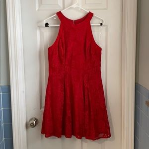 Red Lace Fit & Flare Dress With Pockets